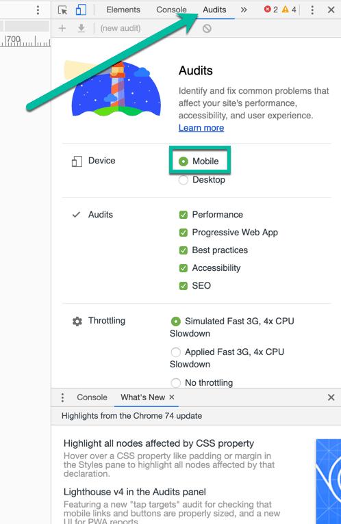 Google Chrome Inspect Mobile Audit