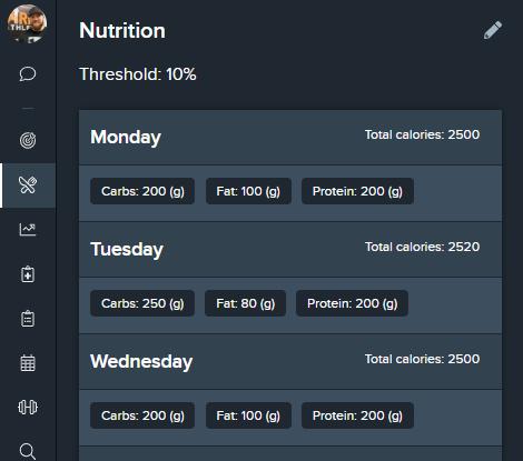 Nutrition goals in TrueCoach